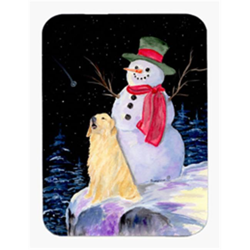 Carolines Treasures SS8951MP Snowman with Golden Retriever Mouse Pad & Hot Pad & Trivet