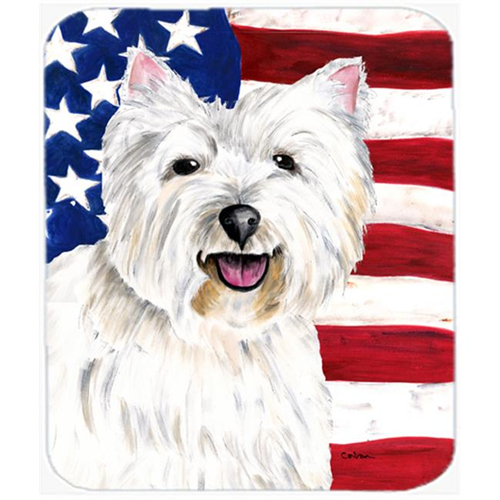Carolines Treasures SC9008MP 9.5 x 8 in. USA American Flag with Westie Mouse Pad Hot Pad or Trivet