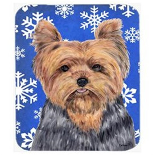 Carolines Treasures SC9388MP Yorkie Winter Snowflakes Holiday Mouse Pad Hot Pad Or Trivet