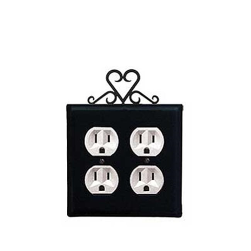 Village Wrought Iron EOO-51 Heart Double Outlet Cover - Black