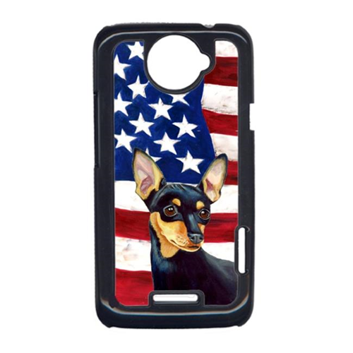Carolines Treasures LH9004HTCONE USA American Flag With Min Pin HTC One X Cell Phone Cover