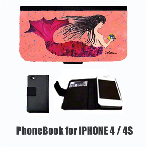 Carolines Treasures 8338-NBIP4 Mermaid Black Hair Mermaid Cell Phonebook Cell Phone case Cover for IPHONE 4 or 4S