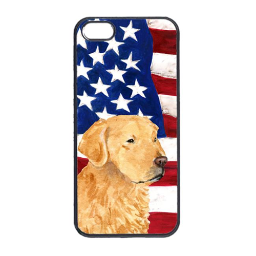 Carolines Treasures SS4055IP4 USA American Flag With Golden Retriever Iphone 4 Cover