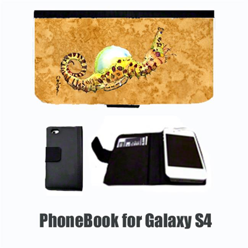 Carolines Treasures 8640-NBGALAXYS4 Seahorse Male on gold Cell Phonebook Cell Phone case Cover for GALAXY 4S