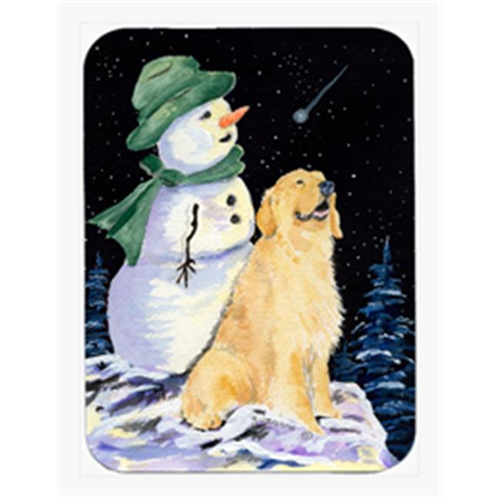 Carolines Treasures SS8577MP Golden Retriever With Snowman In Green Hat Mouse Pad & Hot Pad Or Trivet
