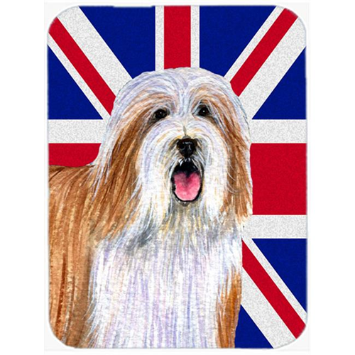 Carolines Treasures LH9482MP 7.75 x 9.25 In. Bearded Collie With English Union Jack British Flag Mouse Pad Hot Pad Or Trivet