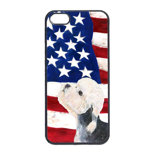 Carolines Treasures SS4030IP4 USA American Flag With Dandie Dinmont Terrier Iphone 4 Cover