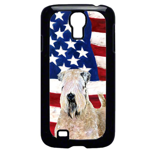 Carolines Treasures SS4019GALAXYS4 USA American Flag with Wheaten Terrier Soft Coated Cell Phone Cover GALAXY S4