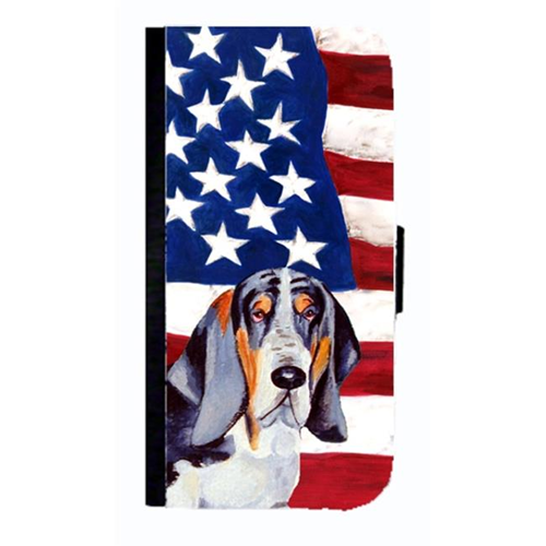 Carolines Treasures LH9014NBGALAXYS4 USA American Flag With Basset Hound Cell Phonebook Case Cover For Galaxy 4S
