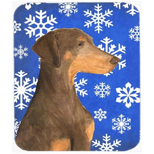 Carolines Treasures SS4617MP Doberman Winter Snowflakes Holiday Mouse Pad Hot Pad Or Trivet