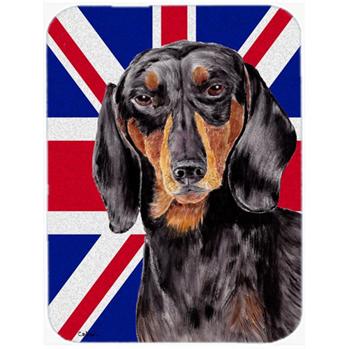 Carolines Treasures SC9820MP 7.75 x 9.25 In. Dachshund With English Union Jack British Flag Mouse Pad Hot Pad Or Trivet