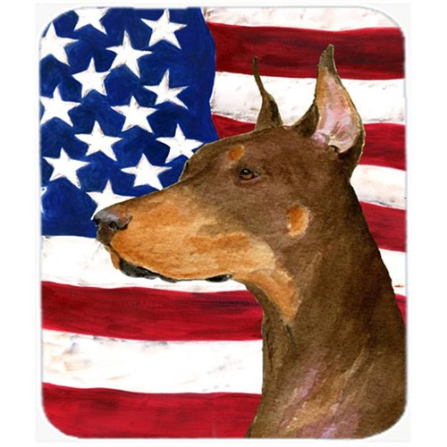 Carolines Treasures SS4224MP Usa American Flag With Doberman Mouse Pad Hot Pad or Trivet