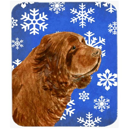 Carolines Treasures SS4648MP Sussex Spaniel Winter Snowflakes Holiday Mouse Pad Hot Pad or Trivet