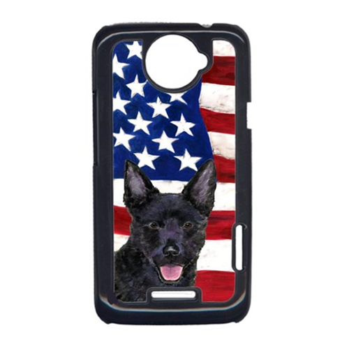 Carolines Treasures SS4025HTCONE USA American Flag With Australian Kelpie HTC One X Cell Phone Cover