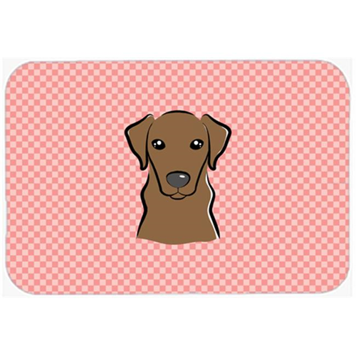 Carolines Treasures BB1234MP Checkerboard Pink Chocolate Labrador Mouse Pad Hot Pad Or Trivet 7.75 x 9.25 In.
