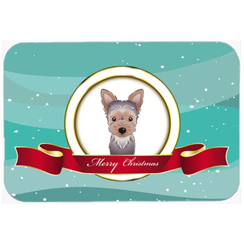 Carolines Treasures BB1542MP Yorkie Puppy Merry Christmas Mouse Pad Hot Pad & Trivet