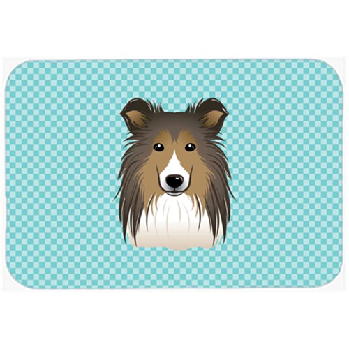 Carolines Treasures BB1180MP Checkerboard Blue Sheltie Mouse Pad Hot Pad Or Trivet 7.75 x 9.25 In.