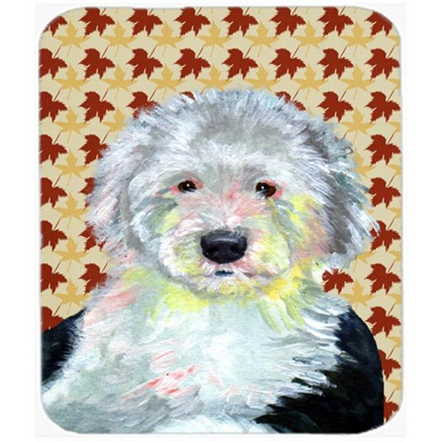 Carolines Treasures LH9126MP Old English Sheepdog Fall Leaves Portrait Mouse Pad Hot Pad or Trivet