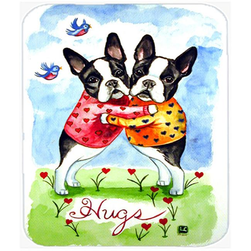 Carolines Treasures 7015MP 9.5 x 8 in. Hugs Boston Terrier Mouse Pad Hot Pad or Trivet
