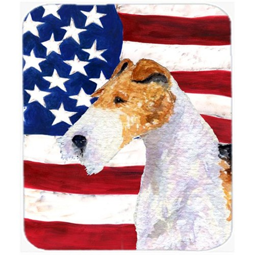 Carolines Treasures SS4057MP Usa American Flag With Fox Terrier Mouse Pad Hot Pad Or Trivet