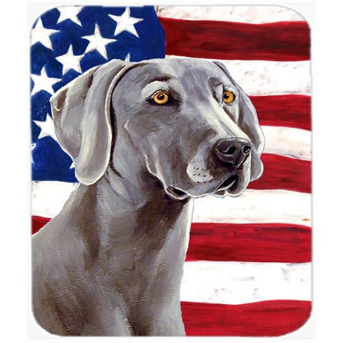 Carolines Treasures LH9001MP 9.5 x 8 in. USA American Flag with Weimaraner Mouse Pad Hot Pad or Trivet