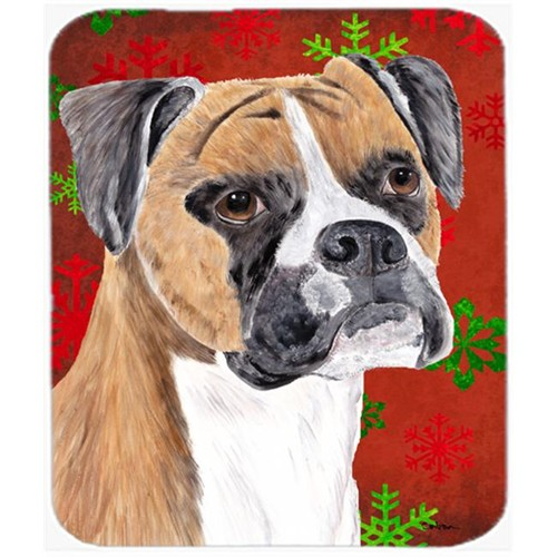 Carolines Treasures SC9430MP Boxer Red And Green Snowflakes Holiday Christmas Mouse Pad Hot Pad Or Trivet