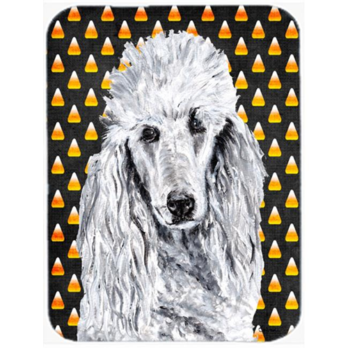 Carolines Treasures SC9655MP White Standard Poodle Candy Corn Halloween Mouse Pad Hot Pad Or Trivet 7.75 x 9.25 In.
