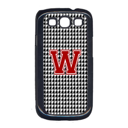 Carolines Treasures CJ1021-W-GALAXYSIII 3 x 5 in. Houndstooth Black Letter W Monogram Initial Cell Phone Cover for Galaxy S111