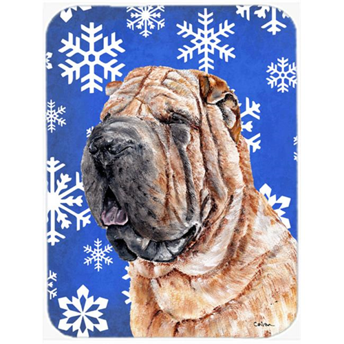 Carolines Treasures SC9767MP Shar Pei Winter Snowflakes Mouse Pad Hot Pad Or Trivet 7.75 x 9.25 In.