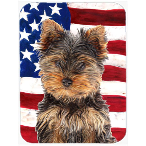 Carolines Treasures KJ1160MP USA American Flag with Yorkie Puppy & Yorkshire Terrier Mouse Pad Hot Pad or Trivet
