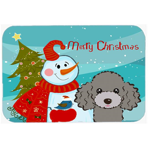 Carolines Treasures BB1879MP Snowman With Silver Gray Poodle Mouse Pad Hot Pad & Trivet