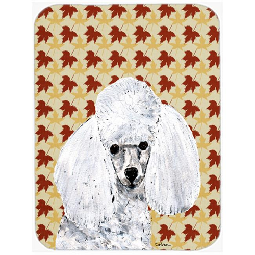 Carolines Treasures SC9677MP White Toy Poodle Fall Leaves Mouse Pad Hot Pad Or Trivet 7.75 x 9.25 In.