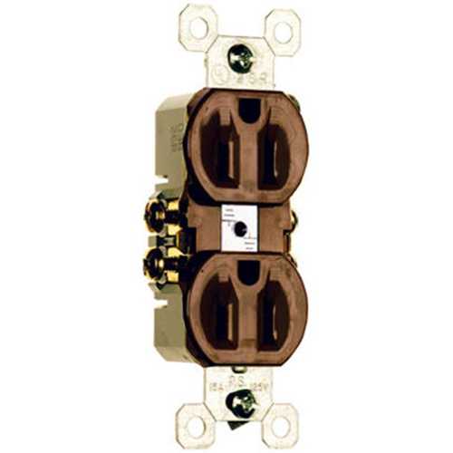 Pass & Seymour 3232TU 15A 125V Standard Duplex Outlet - Brown Pack of 10