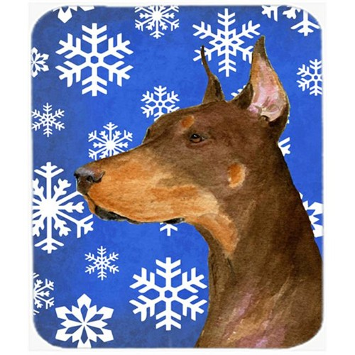 Carolines Treasures SS4606MP Doberman Winter Snowflakes Holiday Mouse Pad Hot Pad Or Trivet