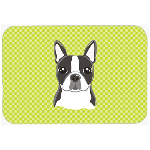 Carolines Treasures BB1265MP Checkerboard Lime Green Boston Terrier Mouse Pad Hot Pad Or Trivet 7.75 x 9.25 In.