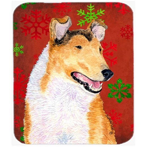 Carolines Treasures SS4677MP Collie Smooth Red and Green Snowflakes Christmas Mouse Pad Hot Pad or Trivet