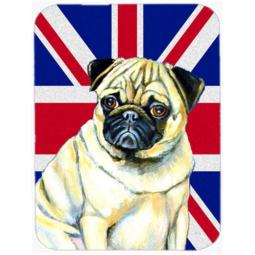 Carolines Treasures LH9494MP 7.75 x 9.25 In. Pug With English Union Jack British Flag Mouse Pad Hot Pad Or Trivet
