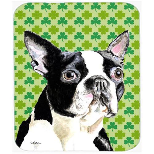Carolines Treasures SC9280MP Boston Terrier St. Patricks Day Shamrock Portrait Mouse Pad Hot Pad or Trivet