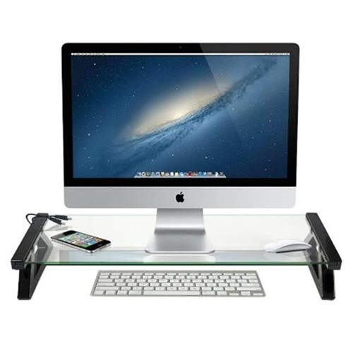 DG Sports Universal Monitor Laptop Multimedia Stand with Built in 3 Port USB 2.0 Clear