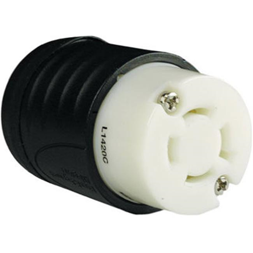 Pass & Seymour L1420CCCV3 Locking Connector 20A Black & White