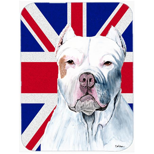 Carolines Treasures SC9838MP 7.75 x 9.25 In. Pit Bull With English Union Jack British Flag Mouse Pad Hot Pad Or Trivet