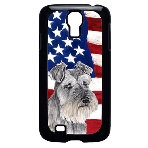 Carolines Treasures SC9110GALAXYS4 USA American Flag with Schnauzer Cell Phone Cover GALAXY S4