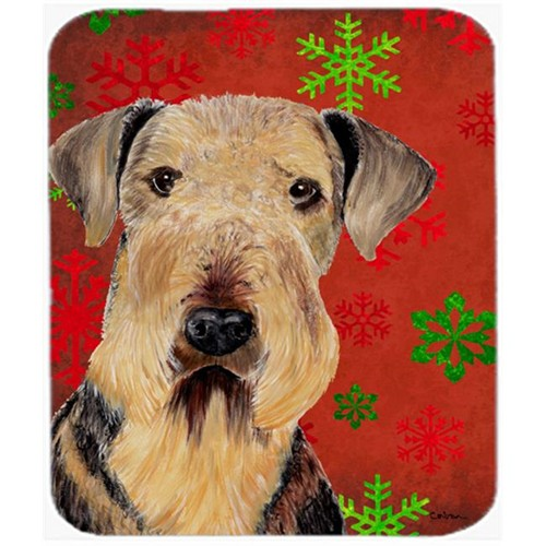 Carolines Treasures SC9413MP Airedale Red And Green Snowflakes Christmas Mouse Pad Hot Pad Or Trivet
