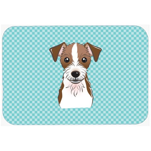 Carolines Treasures BB1140MP Checkerboard Blue Jack Russell Terrier Mouse Pad Hot Pad Or Trivet 7.75 x 9.25 In.
