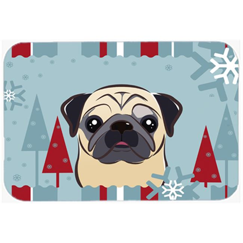 Carolines Treasures BB1758MP Winter Holiday Fawn Pug Mouse Pad Hot Pad & Trivet