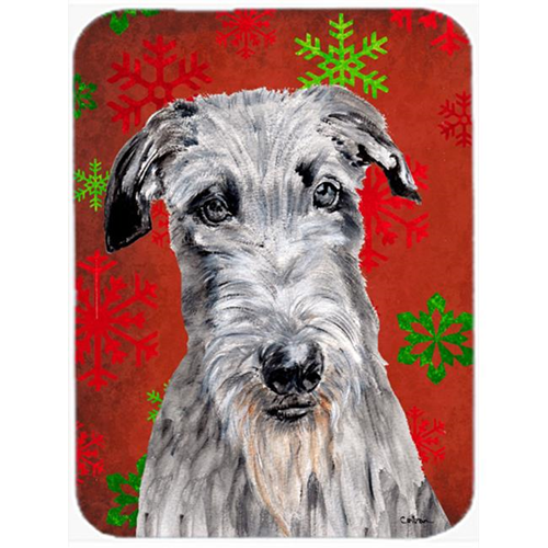 Carolines Treasures SC9754MP Scottish Deerhound Red Snowflakes Holiday Mouse Pad Hot Pad Or Trivet 7.75 x 9.25 In.