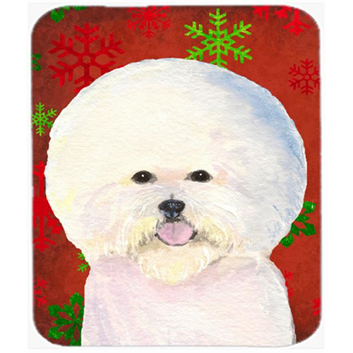 Carolines Treasures SS4733MP Bichon Frise Red and Green Snowflakes Christmas Mouse Pad Hot Pad or Trivet