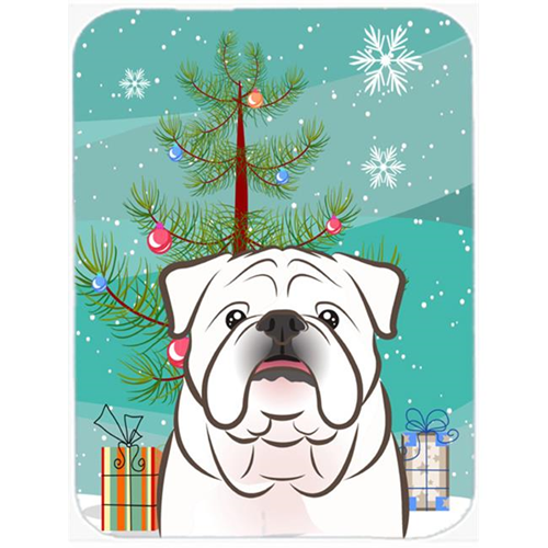 Carolines Treasures BB1592MP Christmas Tree And White English Bulldog Mouse Pad Hot Pad & Trivet