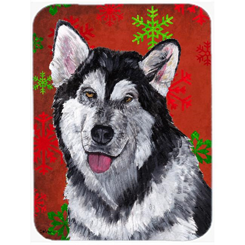 Carolines Treasures SC9492MP 7.75 x 9.25 In. Alaskan Malamute Red Snowflakes Holiday Christmas Mouse Pad Hot Pad Or Trivet