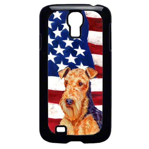 Carolines Treasures LH9005GALAXYS4 USA American Flag with Airedale Cell Phone Cover GALAXY S4